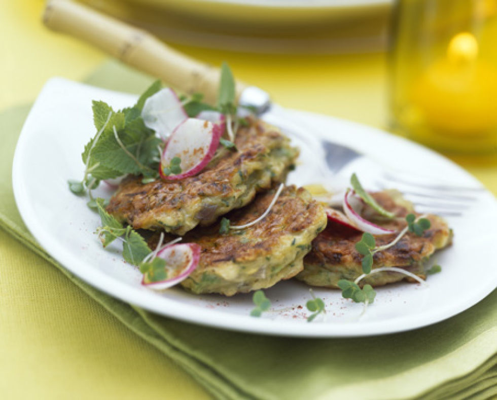 feta and courgette cakes. Black Bedroom Furniture Sets. Home Design Ideas