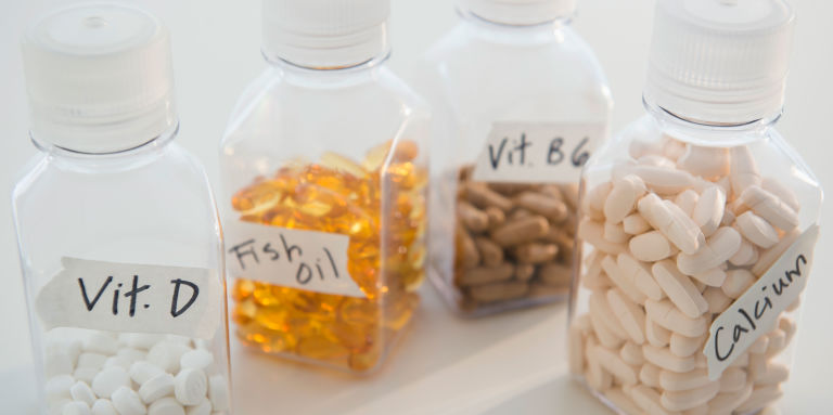 Vitamin supplement bottles