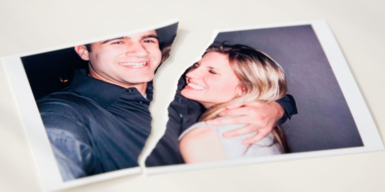 Torn photo couple