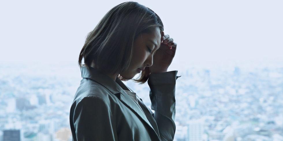 Working woman looking sad